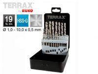 Набір свердл по металу 19 шт DIN 338 тип N HSS-G TERRAX by RUKO, (А214214)